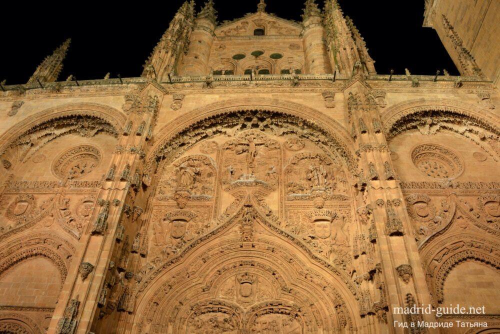 Ночная Саламанка, фасад собора